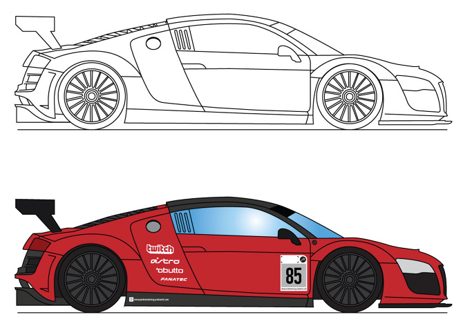 Audi R8 LMS Ultra Vector Illustration on audi r8 drawing